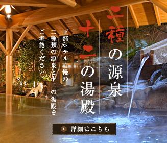 二種の源泉 十二の湯殿 下部ホテル自慢の二種類の源泉と十二の湯殿をご堪能ください 詳細はこちら